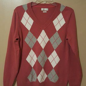 Pink VanHeusen V-Neck Sweater -(Sz M)